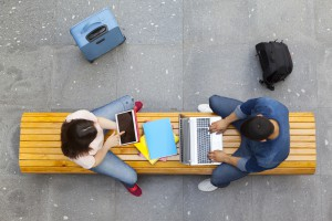 Top view of students studying at the main hall university